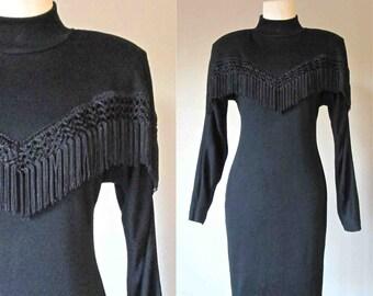 Vintage 80's / 90's FRINGE MOCK neck little black dress - M