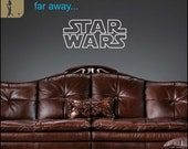 Star Wars Decal quote : 'A long time ago in a galaxy far far away'. Movie's first line and Logo - Star Wars decor