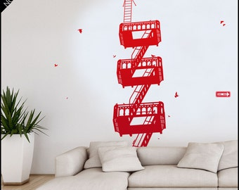 San Francisco wall decal - Building Fire Stairs Emergency - West Side Story style Fire Stairs wall decal - Nyc fire stair decor