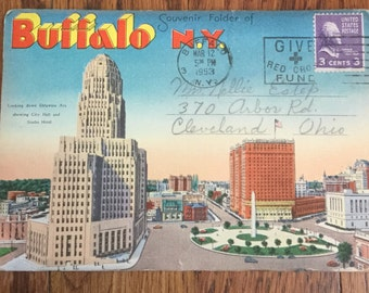 Vintage Souvenir Folder of Buffalo, New York Fold Out Post Card Post Card Booklet Linen Post Cards Vintage Post Card Vintage Photography
