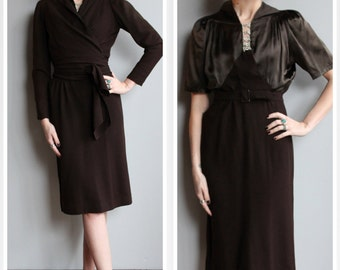 1930s Dress Set // Barnett Marshall Fields Co. Dress & Jacket // vintage 30s dress and jacket
