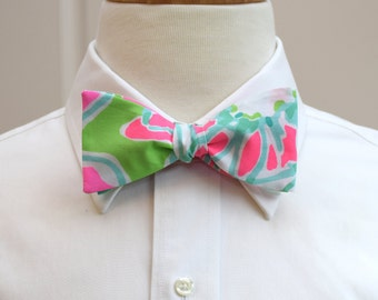 Men's Bow Tie in Lilly Cluck pinks and greens, self-tie bow tie, groomsmen's gift, wedding party wear, formal menswear, groom bow tie
