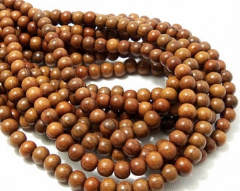 Magkuno Wood, 6mm - 7mm, Light to Medium Brown, , Round, Smooth, Small, Natural Wood Beads, 16 Inch Full Strand - ID 1044-LT
