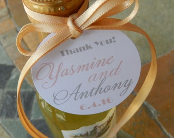 """50 Wedding or Anniversary Custom 2"""" Thank You Favor Tags - for Mini Wine, Champagne, or Liquor Bottles - Mason Jar Gifts - Party Favor Tags"""