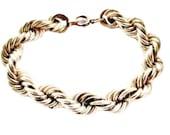 Vintage Retro 1940s Era Gold Filled GF Rope Twist Bracelet