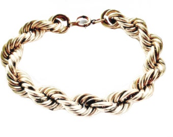 Vintage Retro 1940s Era Gold Filled GF Rope Twist Bracelet
