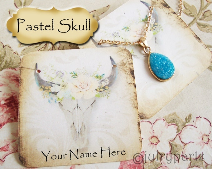 24•PASTEL SKULL•Necklace Card•Earring Cards•Jewelry Cards•Display Card•Display•Earring Holder•Necklace Holder•2x2 or 3x3