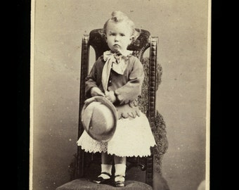 1860s CDV ~ Little Boy in Dress with Fuzzy Hidden Mother Monster!