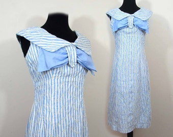 1960s Empire Waist Dress - Mod Middy Light blue stripe, large collar & bow - Sm