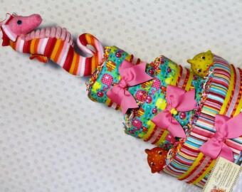 Under the Sea Baby Diaper Cake Seahorse Girls Shower Gift Centerpiece