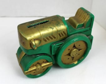 vintage ceramic green and gold tractor coin bank Japan piggy
