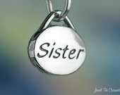 Sterling Silver Oval Sister Charm Family Sisters Small Solid .925