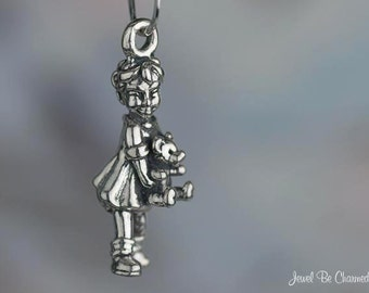 Sterling Silver Little Girl Holding Teddy Bear Charm Toddler Solid 925
