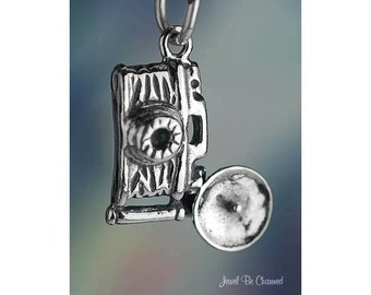 Sterling Silver Vintage Style Camera with Flash Bulb Charm Solid .925