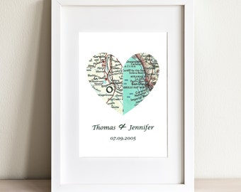 CUSTOM Half And Half Heart Map Art Print. Print Only. You Select Two Cities Worldwide. Personaized Text. Wedding or Couples Anniversary Gift