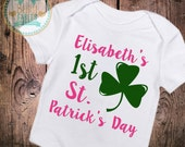 Baby Girls clothes Personalized St. Patrick's Day Bodysuit glitter baby shirt baby girl 1st St. Patty's Day sparkly baby shirt shamrock