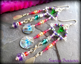 Tribal Assemblage Earrings, Gypsy Nomad Chandelier Earrings, Amethyst, Abalone Shell, Citrine, Kuchi Charms, Unique Artisan Jewelry