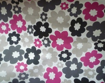 Fuschia Pink Napkins 4 Funky Retro Black Grey Floral Table Decor Fabric Cloth Napkins washable ANY of MY DESIGNS