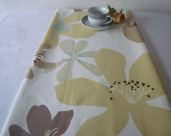 "Coffee Table Runner Retro Brown Amber Taupe Funky Floral Cotton 54"" long x 15"" wide"