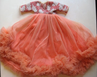 "Glamorous 1960s Peach Chiffon Evening Gown for 18"" Doll - Lovingly Hand Sewn"