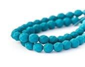 Saturated Navy Blue Faceted Round Spacers, Matte Opaque Blue Fire Polished Czech Glass Beads, 6mm x 25pc (0018)