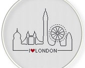 INSTANT DOWNLOAD,Free shippingCounted Cross-Stitch PDF,Friendship gift ,gift for couples,i love london,landmark,landscape,city stitch