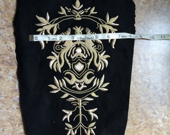 "12"" x 7"" bullion purl embroidered gold Embellishment tabard applique Cosplay crest emblem Medieval Elite Knight Goldwork Halloween Costume"