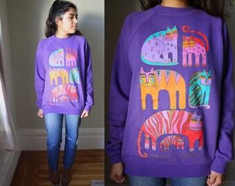 Vintage Purple Abstract Cat Fantastic Felines Pullover Sweater / M