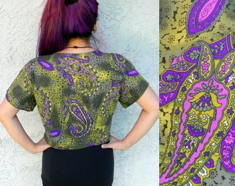 Vintage 80s 90s Paisley Crop Top Blouse - Short Sleeved 'Erica Simone' Brand Designer Shirt, Medium M Large L, Prince meets Jimi Hendrix