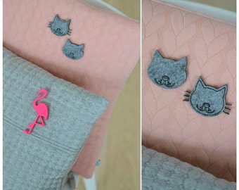 Felt brooch grey cat without mustache shape cat without mustache
