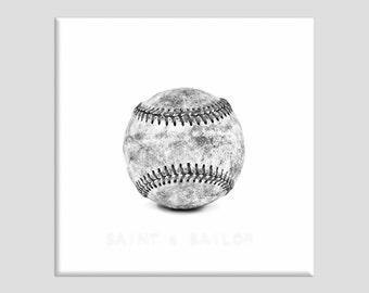 Black and White Vintage Single Baseball on White One Photo Print , Wall Decor, Wall Art,  Kids Room, Nursery Ideas, Gift Ideas,
