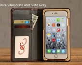 The Luxury Book Case for iPhone 7 Plus - Dark Chocolate and Slate Gray