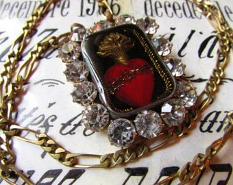 Sacred heart necklace ex voto rhinestone jeweled flaming heart reliquary jewelry metallic trim religious assemblage by Madonnaenchanted