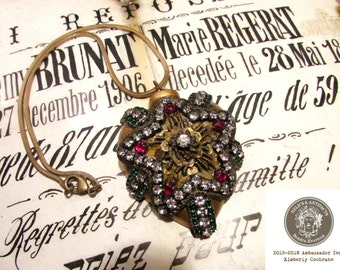 Jeweled sacred heart necklace antique rhinestone metallic star one of a kind statement necklace assemblage