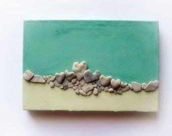 Beach Pebble Art, Unique Wall Art, Heart Rocks Painting, Beach House Decor, Stone Art, Heart Beach Rocks, 3D wall decor gift, MedBeachStones