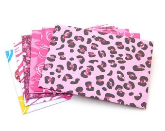 Small Envelopes. Set of 6. Money Envelopes, Gift Card Envelopes, Leopard Hot Pink, Purple, Pink Glasses, Kiss, Diamonds Figures, Party Favor