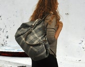 Julia bag in grey plaid with extra pocket ,long strap and Maris in same fabric