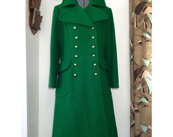 Vintage 60s Emerald Green Coat // Military Style Double Breasted w/ Gold Buttons // Size M