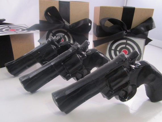 3 Police Gun Soap - valentines gift for man, valentines for guys, gift for men, black gun soap