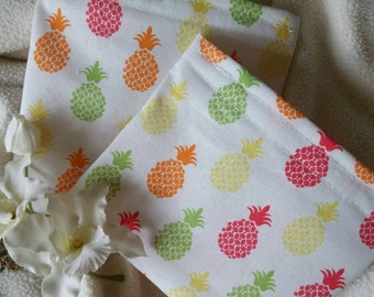 "Fabric Snack Bags, Reusable Sandwich Bags, Make Up Bag, Change Purse, Grab Bag Gift, Party Favor, Teacher Gift ""Peppy Pineapples!"""
