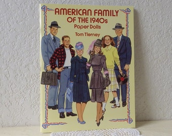 American Family of the 1940s Paper Doll Booklet, Uncut, 1992