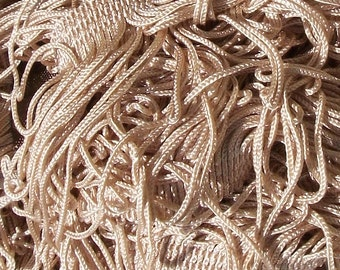Beautiful  Antique French Passementerie Trim Oyster Pink Silk Undulating Fringe c1880