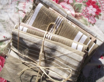 """Bundle of Vintage French 1930's Mixed Stripe Brown Natural Linen Ticking Fabric Pieces Scrap 10"""" Blocks"""