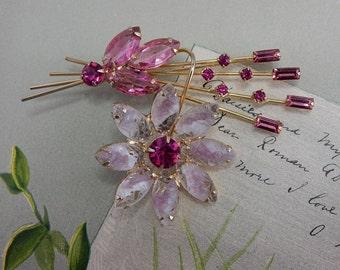JULIANA Pink Textured Art Glass Brooch Givre Stones    NCM4