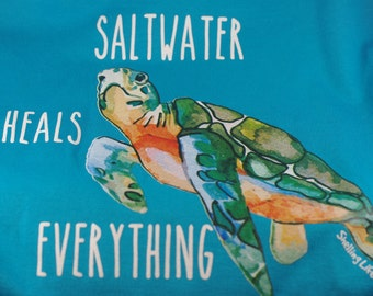Saltwater Heals Everything Sea Turtle Ladies V Neck Tshirt - Shelling Life® - Beachwear - Ladies Wear - FREE SHIPPING in US