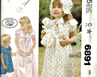Clearance Sale McCall's Pattern 6891 Laura Ashley Dress, Bonnet, Bag Size 4 1970's Vintage Flower girl's dress