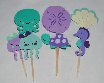 12 Purple Sea Green & Teal Under the Sea Cupcake Toppers READY TO SHiP Octopus Turtle Seahorse  Birthday Cake Decoration Baby Shower