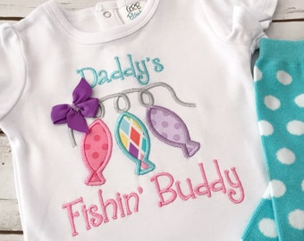 Girls Fishing Shirt - Girls Fishing Bodysuit - Fishing Outfit - Baby Bodysuit - Baby Girl Bodysuit - Daddys Fishing Buddy - Baby Shower Gift