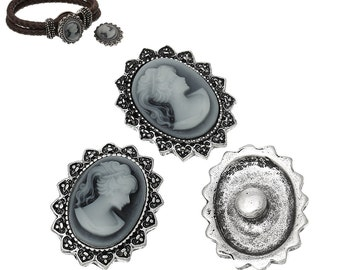 4pcs. Antique Silver Chunk Snap Oval Noosa Button with Resin - Beauty Lady Face - 25 x 20mm