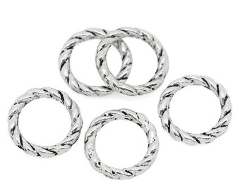 300 pcs Antique Silver Twisted Soldered Connector Closed Jump Rings - 8mm - 16 Gauge